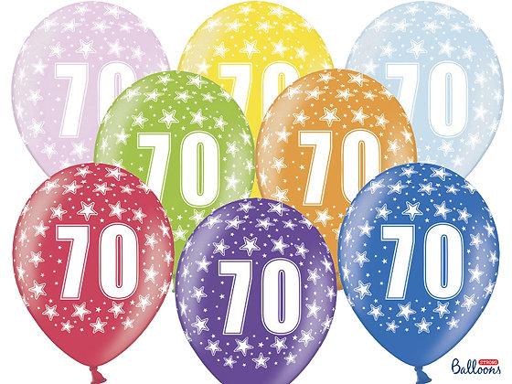 Balony metalizowane z nadrukiem cyfra 70