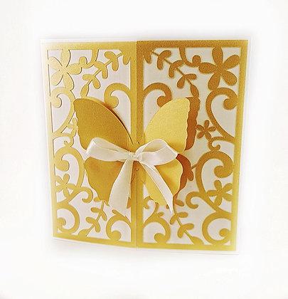 Zaproszenie ażurowe na I Komunię Świętą z motylkiem