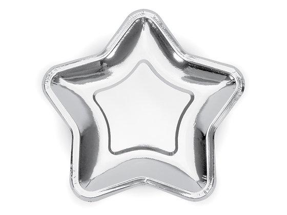 Talerzyki papierowe w kształcie gwiazdki kolor srebrny