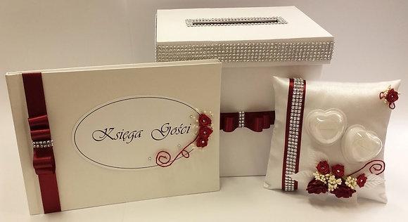 Pudełko na koperty, księga gości weselnych, poduszka pod obrączki Komplet bordo