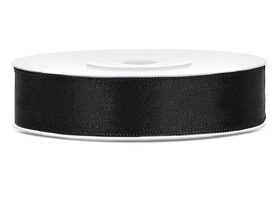 Tasiemka satynowa 12 mm 1m kolor czarny