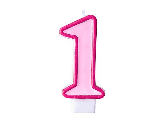 Świeczka Urodzinowa cyferka 1 różowa