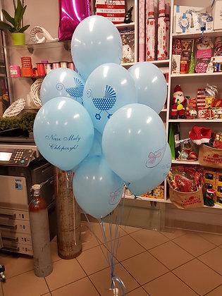 Balony pastelowe jasnoniebieskie w białe groszki