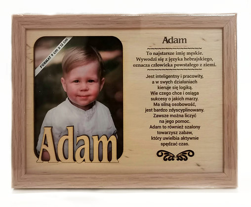 Drewniana ramka z imieniem Adam i sentencją
