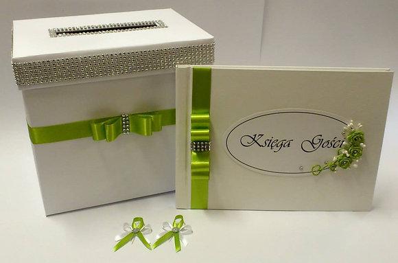 Pudełko na koperty, księga gości weselnych - Komplet zielone jabłuszko