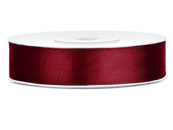 Tasiemka satynowa 12mm 25m kolor bordowy
