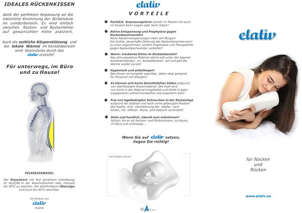 elativ orthopedic pillow against NECK PAINS and TENSENESS with EXTENSION STRETCHING and perfect ERGONOMICS