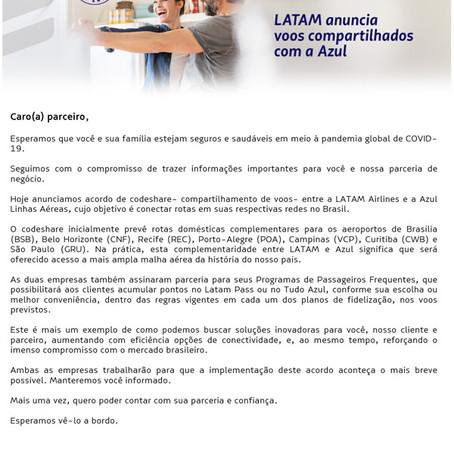 Comunicado Latam: Codeshare com Azul