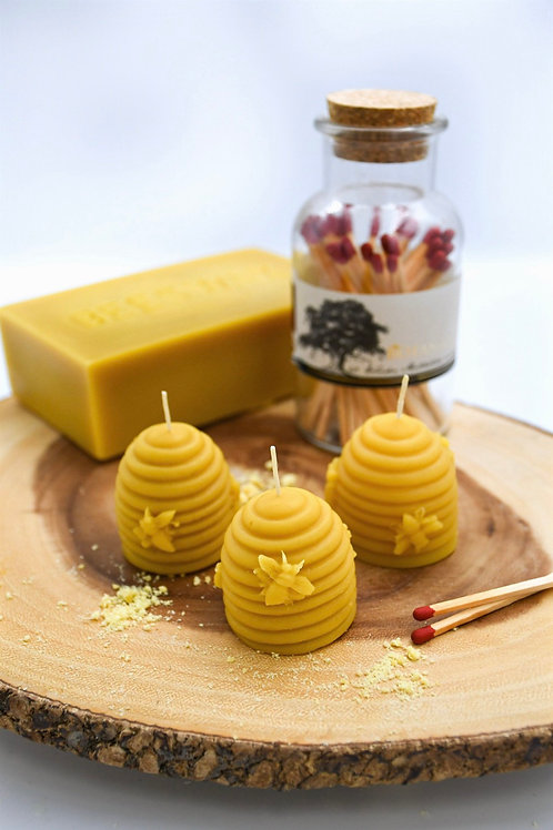 Set of 3 Natural Beeswax Hand-Poured Skep Hive Candles