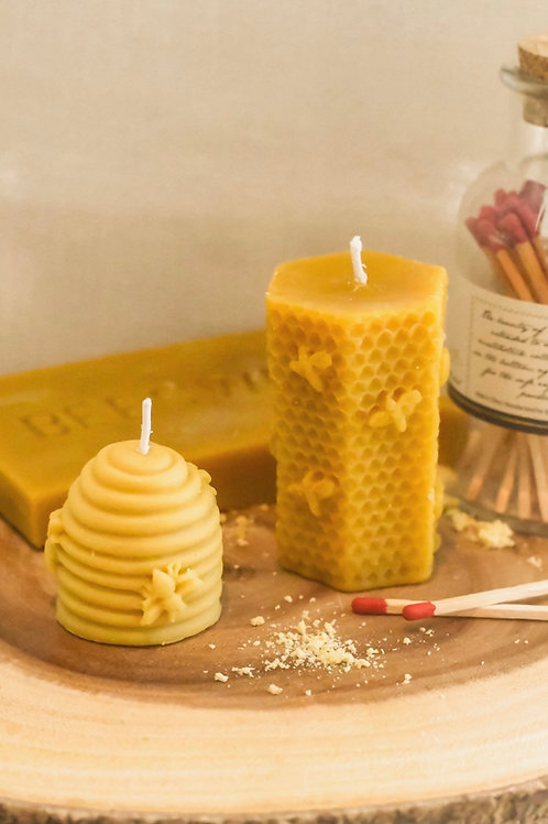 Set of 2 Natural Beeswax Candles, Hand Poured, 4 oz and 1.7 oz