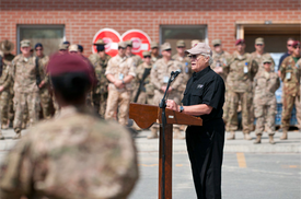 Dave speaking in 2014 for the final 9/11 commemoration by our forces in Kabul before the official end of the war in Afghanistan. He was honored to speak to both NATO and US Forces.