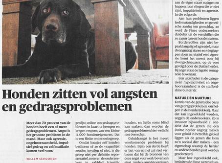 Onderzoek wijst uit dat meer dan 70% van de honden een of meer gedragsproblemen vertoont.