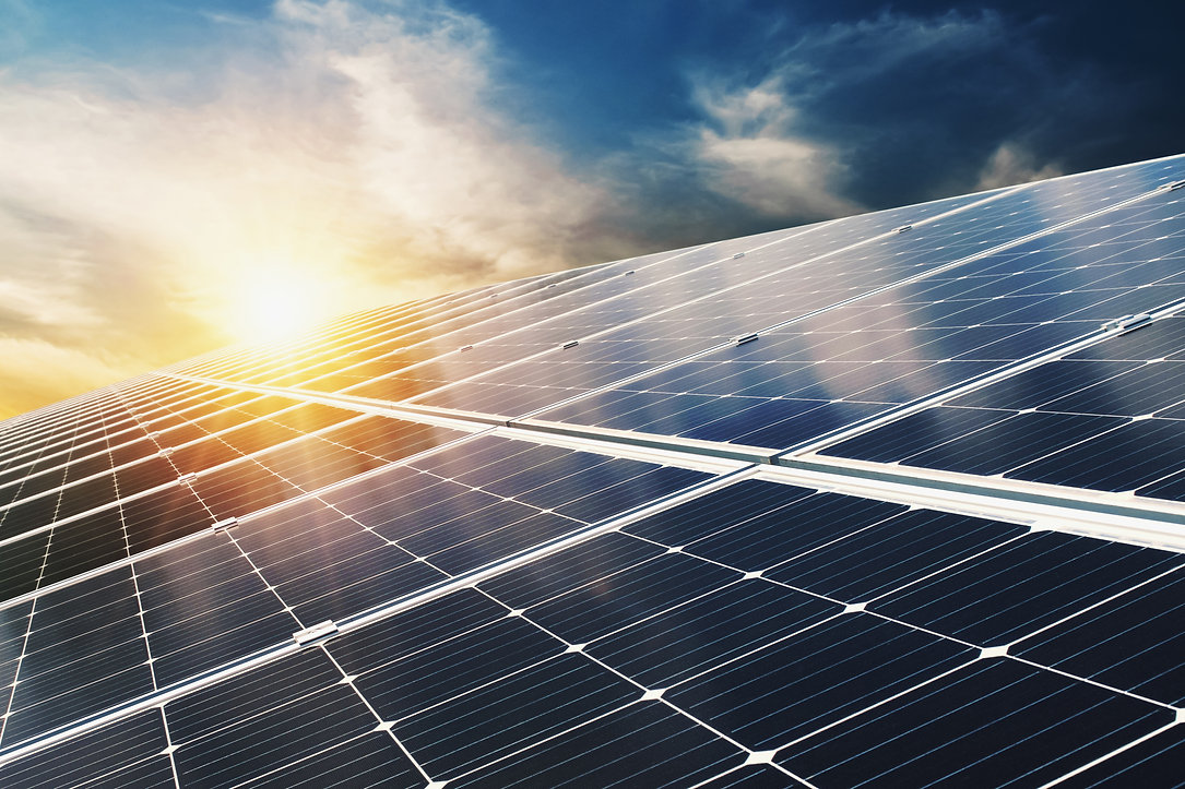 solar-panel-with-blue-sky-and-sunset-concept-clean-energy-electric-alternative-power-in-na