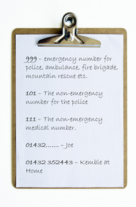 Stay Safe: make a list of emergency numbers