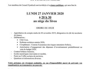 Convocation conseil syndical lundi 27 janvier 2020