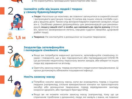 Рекомендації для осіб з підозрою або  COVID 19,які перебувають вдома на самоізоляції