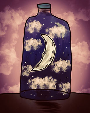 crescent moon and night sky with stars in a bottle
