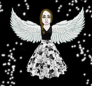 girl with angel wings surrounded by stars and a dark background