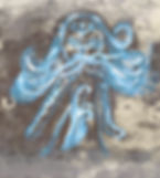 A monoprint of a girl with a demon spirit trapped in her mind. The only way to release it is the smoke running through her body and veins