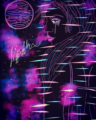 glitched illustration of a girl in front of a space inspired background