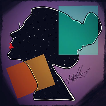 silhouette of girl with stars in the centre whilst being surrounded by geometric shapes