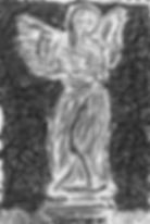 A monochrome charcoal statue of an broken angel