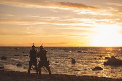 tavla porträtt solnedgång medeltid sagofoto