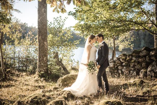 Bröllop klänning sjö lantligt porträtt