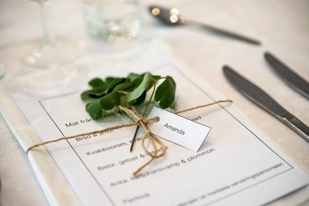 Bröllopsmiddag namnlappar detaljbild