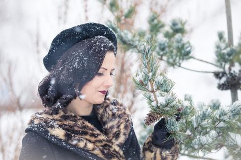 Rockabilly vinter vackert porträtt fine art