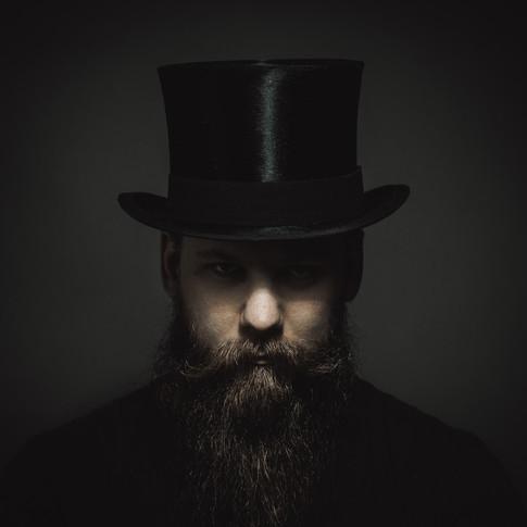 fine art skägg hatt man fotografering
