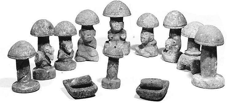Nine-Preclassic-mushroom-stones-found-in