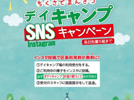 4/30まで デイキャンプ場区画料が無料に!SNSキャンペーン