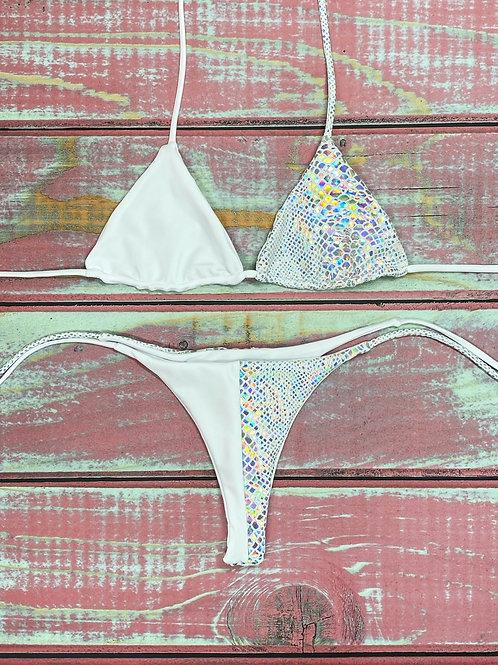 Aurora White Iridescent Split Bakini Set