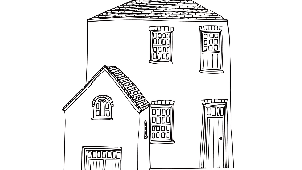 *Personalised* Simple A3 black and white building illustration