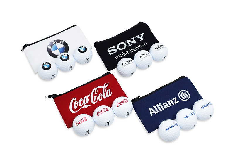 Canvas Zipped Bag containing 3 Printed Golf Balls