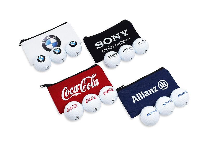 Cotton Canvas Zipped Bag Containing 3 Printed Golf Balls