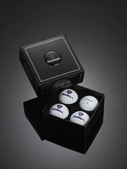 Titleist Dome Label 4 Ball Box with Printed Balls