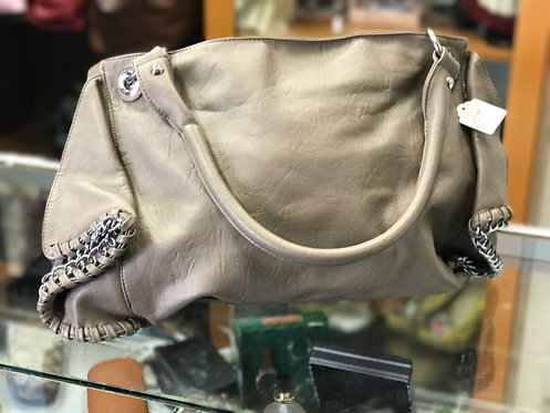 Taupe Handbag with metal accents