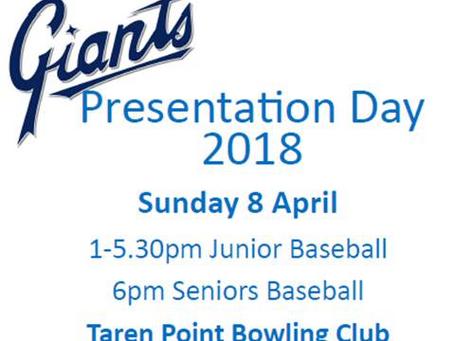 Giants Presentation Day - 8 April