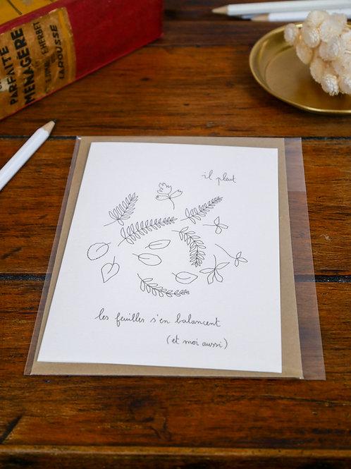 """Carte """"Les feuilles s'en balancent"""""""