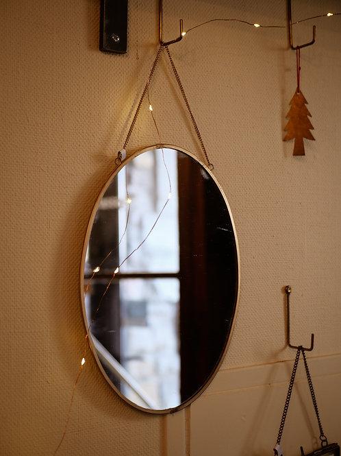 Miroir ovale en laiton vieilli