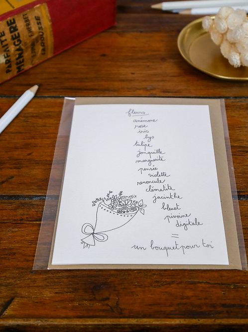 """Carte """"Un bouquet pour toi"""""""