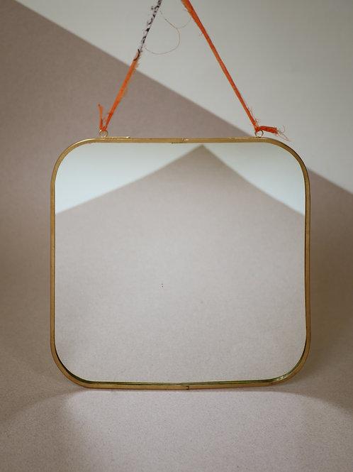 Miroir rectangulaire en laiton vieilli