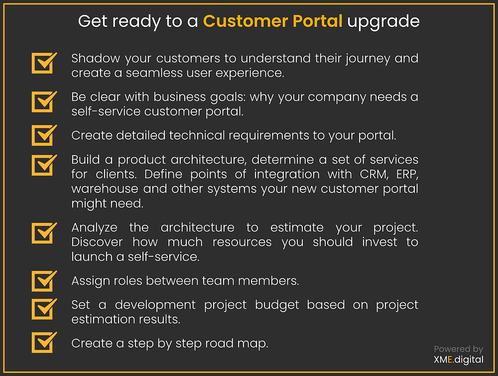 Customer portal software upgrade check list