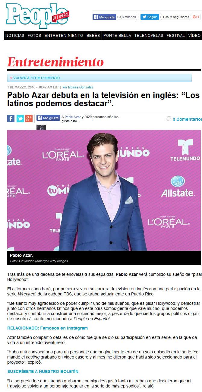 2016 - Pablo Azar debuta en la tv