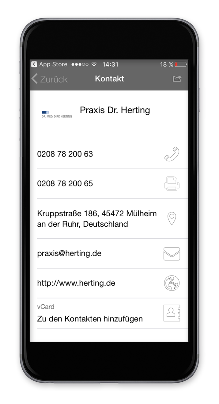 Praxis-App- Kontakt
