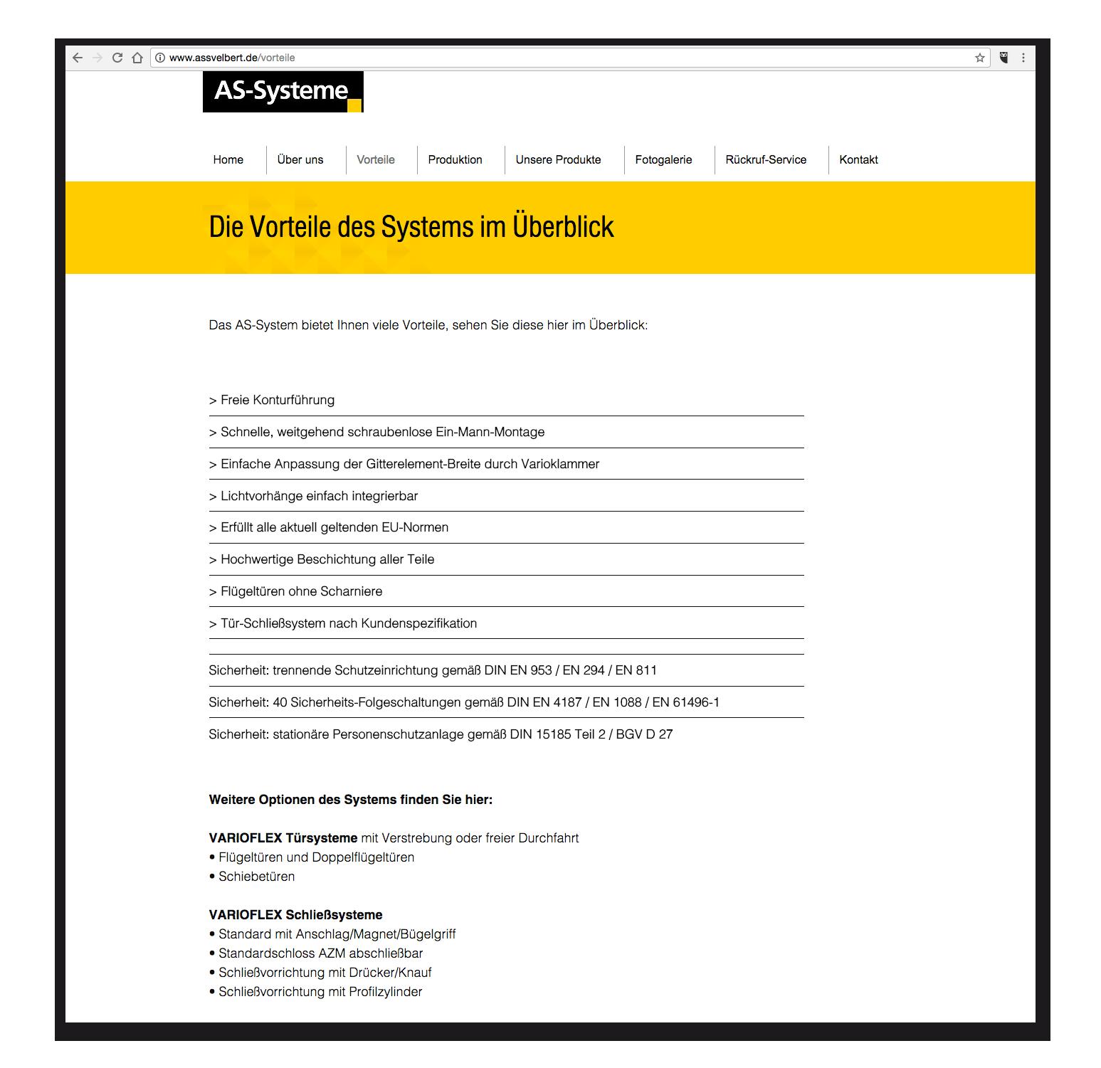 AS-Systeme - Vorteile