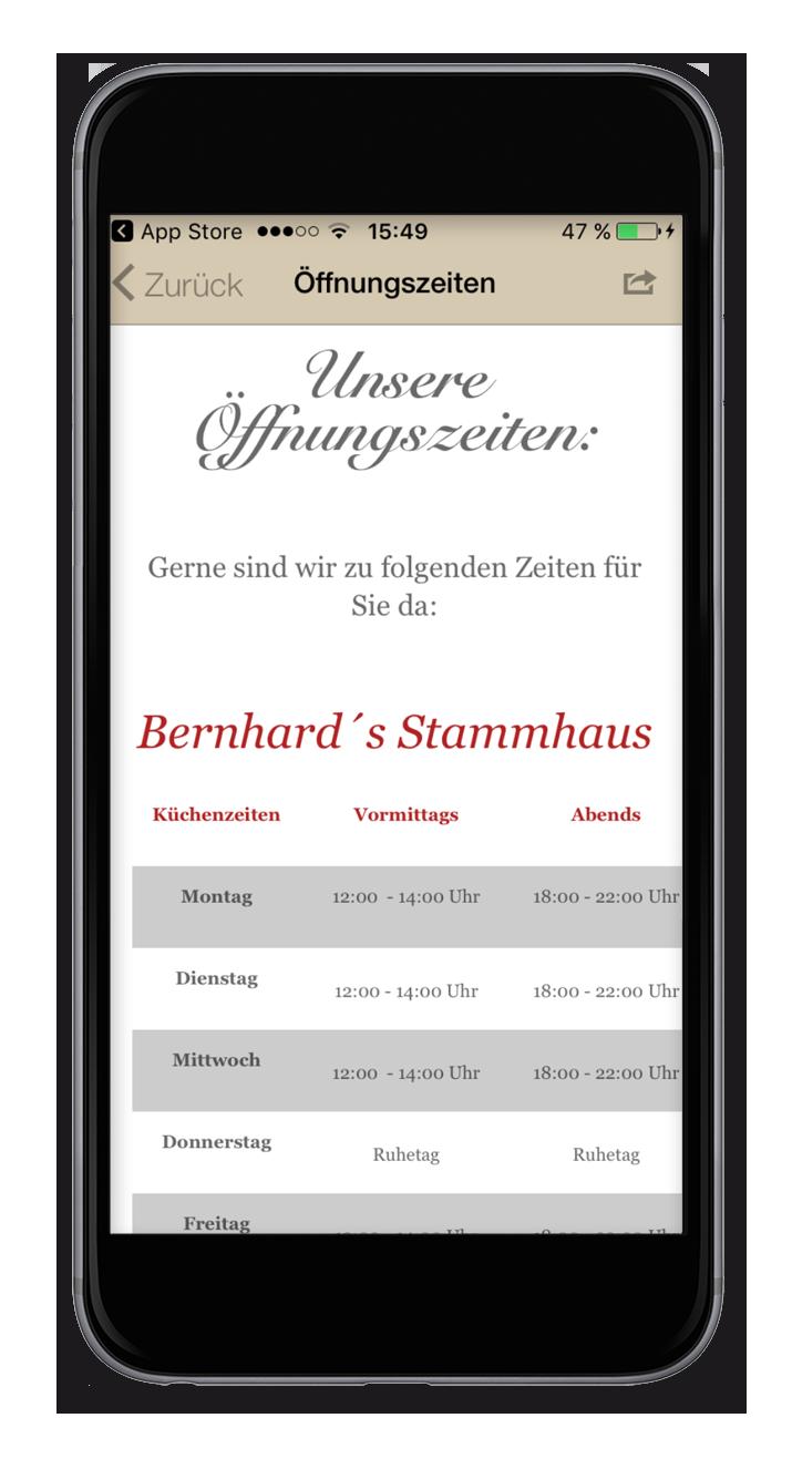 Bernhards - Öffnungszeiten
