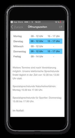 Praxis-App - Öffnungszeiten